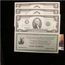 (3) Series 1995 Two Dollar Federal Reserve Notes, Crisp Uncirculated; & 1930-40 era Winchester Rifle