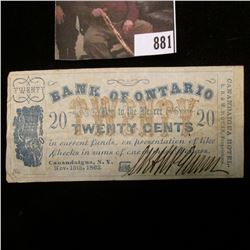 "Nov. 15th, 1863 Twenty Cent Scrip ""Bank of Ontario"", ""Canandaigua, N.Y."" VG-Fine."