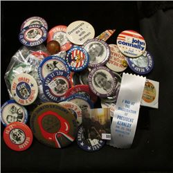 "Nice collection of Old Political Pin-backs; superball with inside ""Chicago Cubs Willie Smith Outfiel"
