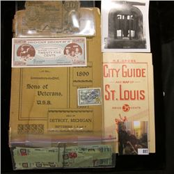 "(1953) ""H.E. Gross City Guide and Map of St. Louis Price 35 Cents""; ""State of New York Dollars Stock"