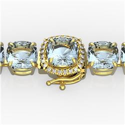 35 CTW Aquamarine & Micro VS/SI Diamond Halo Designer Bracelet 14K Yellow Gold - REF-304F8M - 23301