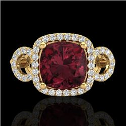3.75 CTW Garnet & Micro VS/SI Diamond Certified Ring 18K Yellow Gold - REF-65T3X - 23005