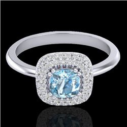 1.16 CTW Sky Blue Topaz & Micro VS/SI Diamond Ring Solitaire Halo 18K White Gold - REF-70H2W - 21023