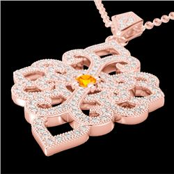 1.40 CTW Citrine & Micro Pave VS/SI Diamond Designer Necklace 14K Rose Gold - REF-127F3M - 22553