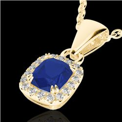 1.25 CTW Sapphire & VS/SI Diamond Certified Halo Necklace Micro Pave 10K Yellow Gold - REF-29X6T - 2