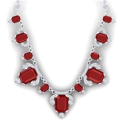 75.21 CTW Royalty Ruby & VS Diamond Necklace 18K White Gold - REF-1363R6K - 38748