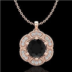 1.01 CTW Fancy Black Diamond Solitaire Art Deco Stud Necklace 18K Rose Gold - REF-74M2F - 37969