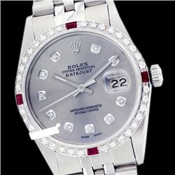 Rolex Men's Stainless Steel, QuickSet, Diam Dial & Diam/Ruby Bezel - REF-441M8H
