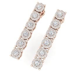 2 CTW Certified SI/I Diamond Halo Earrings 18K Rose Gold - REF-132K3R - 40173