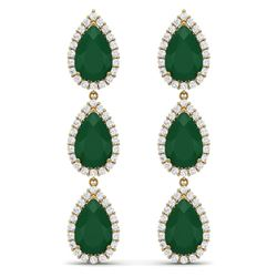 27.06 CTW Royalty Emerald & VS Diamond Earrings 18K Yellow Gold - REF-400F2M - 38843