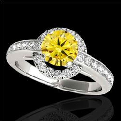 1.5 CTW Certified Si Fancy Intense Yellow Diamond Solitaire Halo Ring 10K White Gold - REF-180T2X -