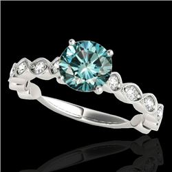 1.75 CTW SI Certified Fancy Blue Diamond Solitaire Ring 10K White Gold - REF-200W2H - 34894