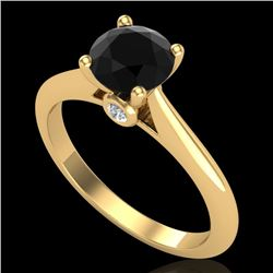 1.08 CTW Fancy Black Diamond Solitaire Engagement Art Deco Ring 18K Yellow Gold - REF-76K4R - 38201