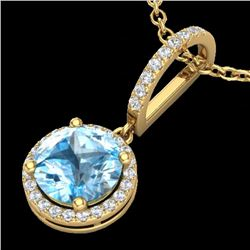 2.75 CTW Sky Blue Topaz & Micro Pave VS/SI Diamond Necklace 1Kk 18K Yellow Gold - REF-53M8F - 23202