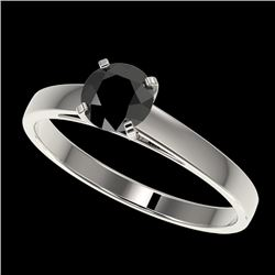 0.75 CTW Fancy Black VS Diamond Solitaire Engagement Ring 10K White Gold - REF-28T5X - 32974