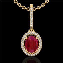 2 CTW Ruby & Micro Pave VS/SI Diamond Necklace Solitaire Halo 18K Yellow Gold - REF-64T2X - 20668