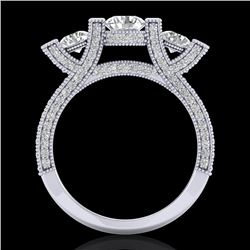 2.3 CTW VS/SI Diamond Solitaire Micro Pave 3 Stone Ring Band 18K White Gold - REF-263K6R - 36956