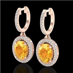 3.50 CTW Citrine & Micro Pave VS/SI Diamond Earrings Halo 14K Rose Gold - REF-83N6Y - 20319
