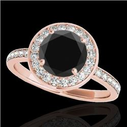 1.5 CTW Certified Vs Black Diamond Solitaire Halo Ring 10K Rose Gold - REF-74H9W - 34382