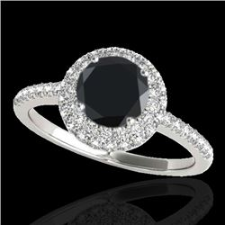1.6 CTW Certified Vs Black Diamond Solitaire Halo Ring 10K White Gold - REF-75H3W - 33673
