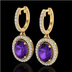 3.50 CTW Amethyst & Micro Pave VS/SI Diamond Earrings Halo 18K Yellow Gold - REF-99H8W - 20309