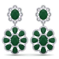 33.88 CTW Royalty Emerald & VS Diamond Earrings 18K White Gold - REF-472T8X - 39153