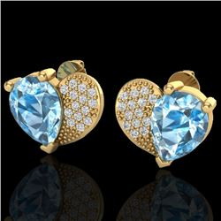 2.50 CTW Sky Blue Topaz & Micro Pave VS/SI Diamond Certified Earrings 10K Yellow Gold - REF-30Y2N -