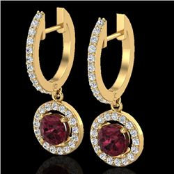 1.75 CTW Garnet & Micro Halo VS/SI Diamond Certified Earrings 18K Yellow Gold - REF-82Y8N - 23258