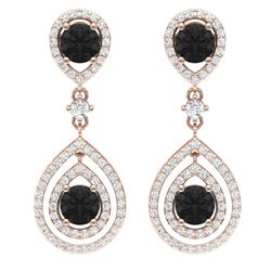 3.62 CTW Certified Black VS Diamond Earrings 18K Rose Gold - REF-190W9H - 39112