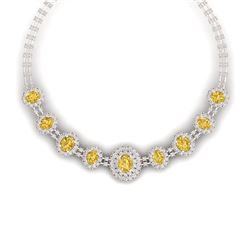 43.20 CTW Royalty Canary Citrine & VS Diamond Necklace 18K Rose Gold - REF-1490X9T - 38806