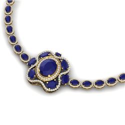 47.43 CTW Royalty Sapphire & VS Diamond Necklace 18K Yellow Gold - REF-927M3F - 39335