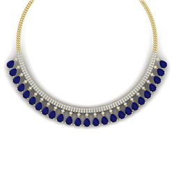 51.75 CTW Royalty Sapphire & VS Diamond Necklace 18K Yellow Gold - REF-981K8R - 38879