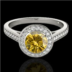 1.3 CTW Certified Si Fancy Intense Yellow Diamond Solitaire Halo Ring 10K White Gold - REF-168K4R -