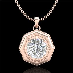 0.75 CTW VS/SI Diamond Solitaire Art Deco Stud Necklace 18K Rose Gold - REF-180N2Y - 37098