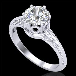 1 CTW VS/SI Diamond Art Deco Ring 18K White Gold - REF-361T8X - 37250