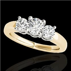 2 CTW H-SI/I Certified Diamond 3 Stone Solitaire Set 10K Yellow Gold - REF-290W9H - 35441