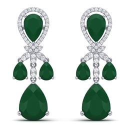 38.29 CTW Royalty Emerald & VS Diamond Earrings 18K White Gold - REF-454F5M - 38604