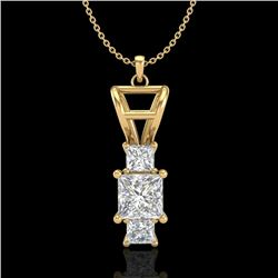 1.54 CTW Princess VS/SI Diamond Solitaire Art Deco Necklace 18K Yellow Gold - REF-400F2M - 37204