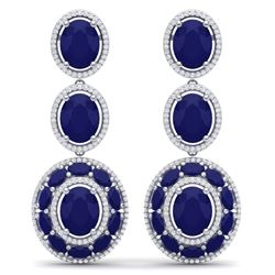 32.84 CTW Royalty Sapphire & VS Diamond Earrings 18K White Gold - REF-436R4K - 39261