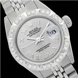 Rolex Men's Stainless Steel, QuickSet, Roman Dial with Pyrimid Diam Bezel  - REF-430R9Z