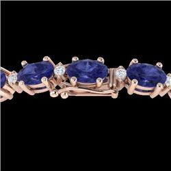 26.3 CTW Tanzanite & VS/SI Certified Diamond Eternity Bracelet 10K Rose Gold - REF-345W5H - 29464