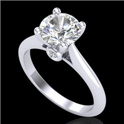 1.6 CTW VS/SI Diamond Art Deco Ring 18K White Gold - REF-555K2R - 37292