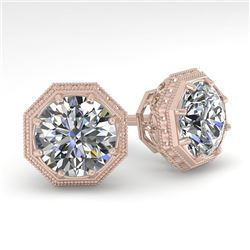 2 CTW VS/SI Diamond Stud Solitaire Earrings 18K Rose Gold - REF-499F3M - 35972