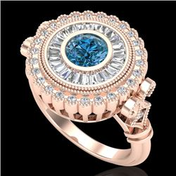 2.03 CTW Fancy Intense Blue Diamond Solitaire Art Deco Ring 18K Rose Gold - REF-245R5K - 37902