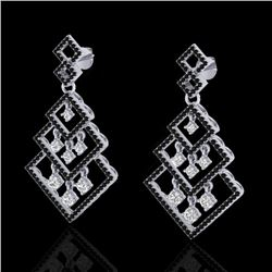 3 CTW Micro Pave Black & White VS/SI Diamond Certified Earrings 14K White Gold - REF-249K3R - 22487