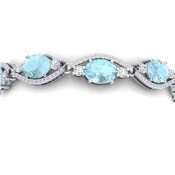 21.6 CTW Royalty Sky Topaz & VS Diamond Bracelet 18K White Gold - REF-327T3X - 38970