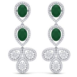 9.75 CTW Royalty Emerald & VS Diamond Earrings 18K White Gold - REF-309H3W - 39078