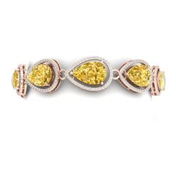 38.99 CTW Royalty Canary Citrine & VS Diamond Bracelet 18K Rose Gold - REF-436K4R - 39568