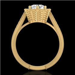 1.33 CTW VS/SI Diamond Solitaire Art Deco Ring 18K Yellow Gold - REF-418F2M - 37105