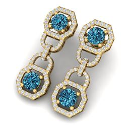 4 CTW Certified Si/I Fancy Blue And White Diamond Earrings 18K Yellow Gold - REF-271R4K - 40135